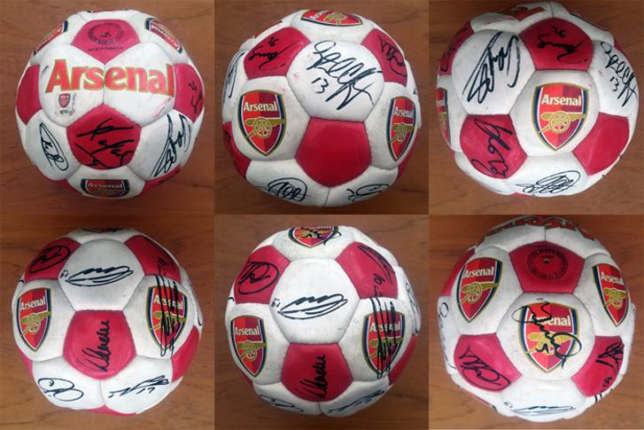 Arsenal-football-memorabilia-signed-bal-1988-89-squad-league-champions-george-graham-alan-smith-paul-merson-david-seaman-lee-dixon-tony-adams-michael-thomas-afc
