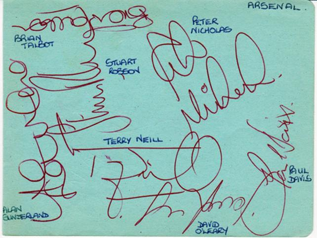 Arsenal FC signed autograph album page