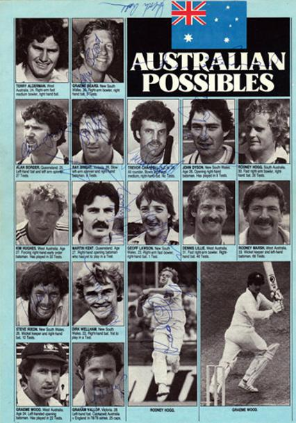 Australia-Cricket-Possibles-Ashes-signed-mag-page memorabilia