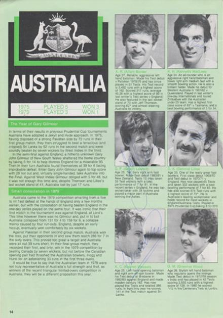 Australia-cricket-memorabilia-player-autographs-1983-world-cup-dennis-lillee-kepler-wessels-geoff-lawson-rod-marsh-graham-yallop-ken-macleay-tom-hogan-aussies