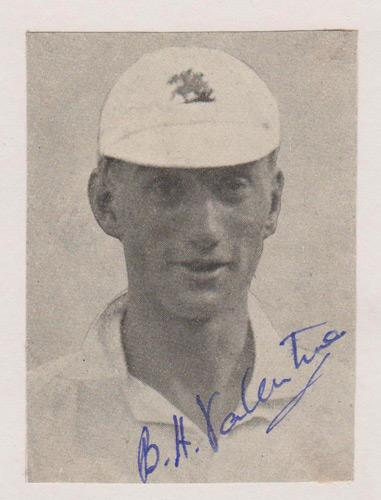 BH-Valentine-autograph-signed-kent-cricket-memorabilia-bryan-herbert-england-timeless-test-match-captain-repton-school-pembroke-college-president-military-cross-kccc