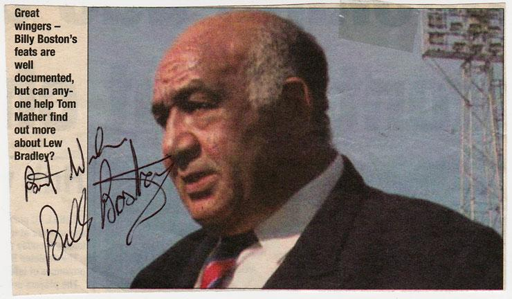 BILLY BOSTON signed newspaper picture Wigan Rugby League Great Britain pic memorabilia