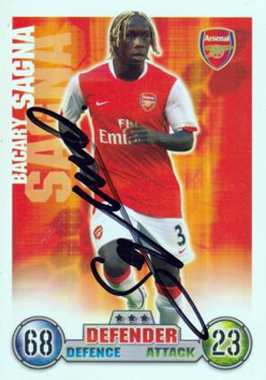 Bacary Sagna Arsenal signed Match Attax card