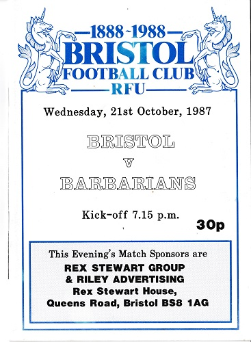Barbarians rugby union memorabilia 1888 1988 bristol centenary programme oct 1987 andy ripley autograph thorburn rees carling jones baa baas