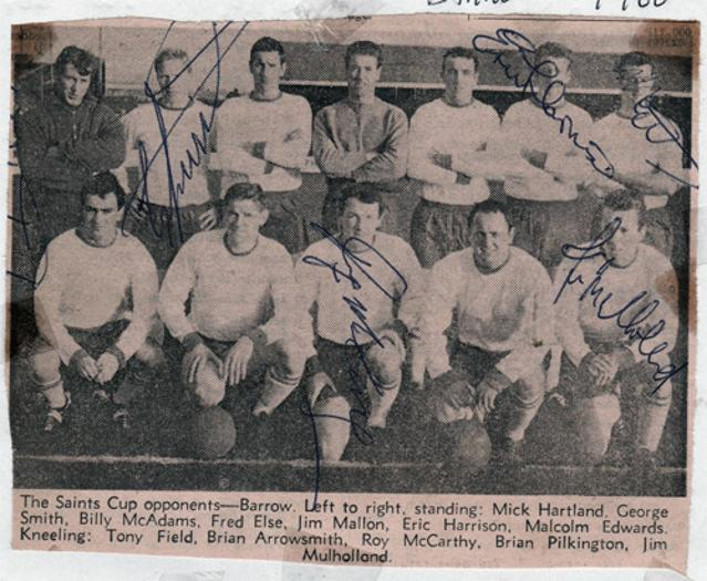 Barrow-AFC-football-memorabilia-signed-team-photo-squad-George-Smith-signature-Eric-Harrison-Malcolm-Edwards-Roy-McCarthy-Jim-Mulholland
