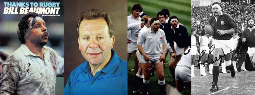 BILL BEAUMONT memorabilia (Fylde, England & British Lions) First Edition Autobiography and 3 hand-signed photos