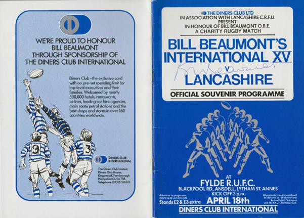 Bill-Beaumont-autograph-signed-England-rugby-memorabilia-fylde-rufc-international-xv-lancashire-signed-official-programme-diners-club-captain-1982