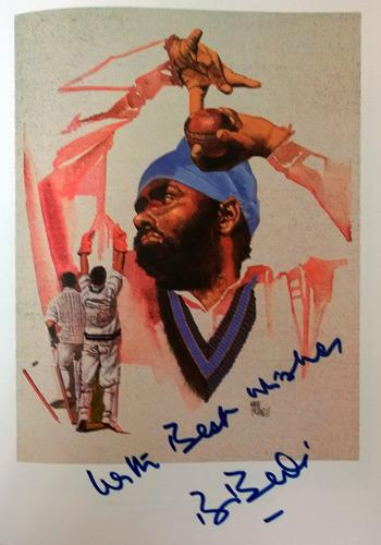 Bishen-Bedi-autograph-signed-India-cricket-memorabilia-Lords-Taverners-Fifty Greatest book-page-print