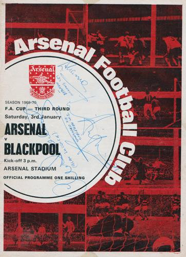 Blackpool-Football-memorabilia-signed-FA-Cup-programme-Jimmy-Armfield-autograph-Les-Shannon-Alan-Suddick-1970-Arsenal-Highbury-third round-fc-tangerines