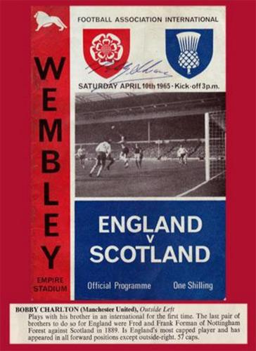 Bobby-Charlton-signed-1965-Wembley-Stadium-programme-England-v-Scotland-Man-Utd-Sir-football-soccer1966-World-Cup