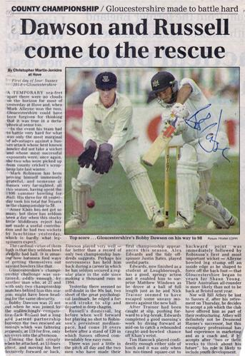 Bobby-Dawson-autograph-signed-Gloucestershire-Gloucs-CCC-cricket-memorabilia-newspaper-picture-98-sussex-county-batsman-signature-robert