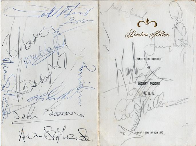 Bobby-Moore-autograph-signed-football-memorabilia-tribute-dinner-menu-Hilton-1970-Geoff-Hurst-Jimmy-Greaves-1966-world-cup-west-ham-united-england-captain