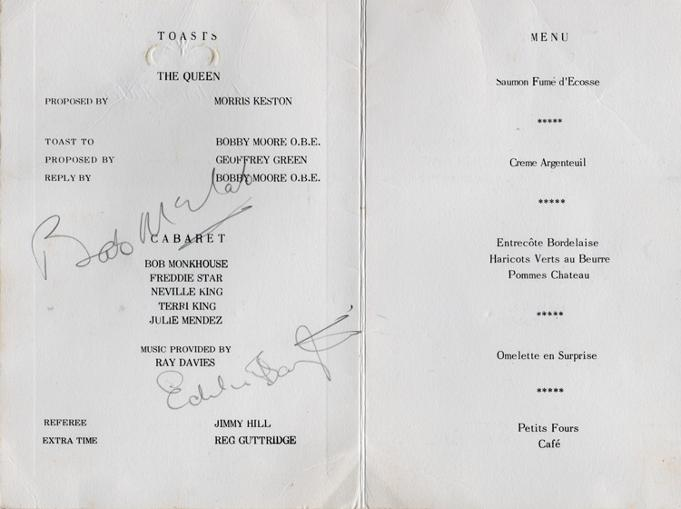 Bobby-Moore-autograph-signed-football-memorabilia-tribute-dinner-menu-Hilton-1970-Geoff-Hurst-Jimmy-Greaves-1966-world-cup-west-ham-utd-england-captain