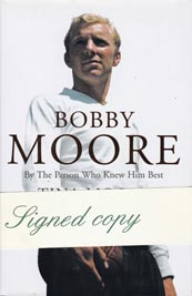 Bobby-Moore-signed-auto-biography-book-Tina-wife-england-football-1966-world-cup-memorabilia-captain-west-ham-united