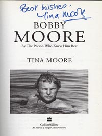 Bobby-Moore-signed-auto-biography-book-Tina-wife-england-football-1966-world-cup-memorabilia-captain-west-ham-utd-united