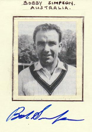 Bobby Simpson memorabilia signed 1964 Australia cricket memorabilia photo card autograph