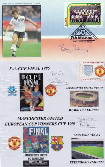 Brian-Robson-autograph-signed-manchester-united-football-memorabilia-Old Trafford-Fa-Cup-Final-Man-Utd-England-WBA-FDC-First-Day-Cover