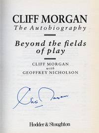 CLIFF-MORGAN-memorabilia-signed-autobiography-Beyond-The-Fields-Of-Play-Wales-rugby-memorabilia-autographed-book-signature-first-edition