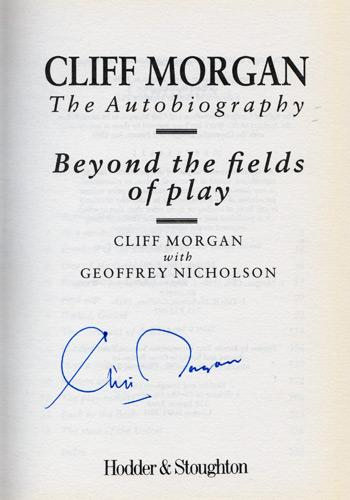 CLIFF-MORGAN-memorabilia-signed-autobiography-Beyond-The-Fields-Of-Play-Wales-rugby-memorabilia-autographed-book-signature-350