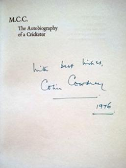 COLIN-COWDREY-autograph-signed-autobiography-of-a-cricketer-kent-cricket-memorabilia-england-MCC-signature-1976