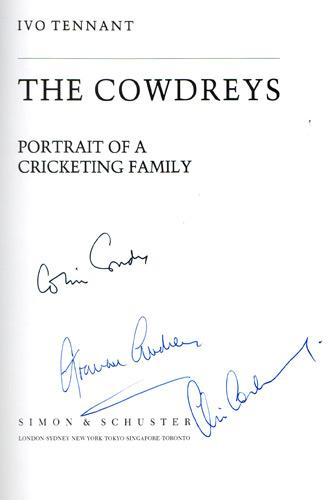 COLIN-COWDREY-autograph-signed-biography-The-Cowdreys-Chris-Cowdrey-memorabilia-Graham-Cowdrey-kent-cricket-memorabilia-england-MCC-Ivo-Tennant-1990-signature