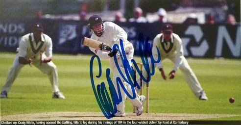 CRAIG-WHITE-autograph-signed- Yorkshire-cricket-memorabilia-England-test match all rounder yorks ccc