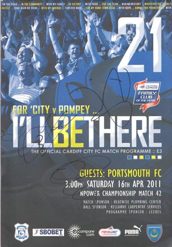Cardiff-City-football-memorabilia-signed-Ill-be-there-matgh-day-programme-April-2011-Portsmouth-autograph-team-squad-signatures-burke-santiago-parkin-meades