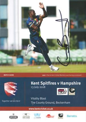 Carlos-Brathwaite-autograph-signed-kent-cricket-memorabilia-west-indies-kccc-barbados-captain-t20-spitfires-all-rounder-Sunrisers-Hyderabad-signature