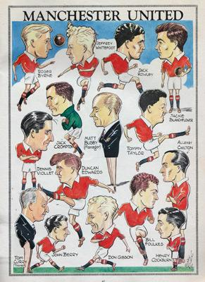 Charles-Buchan-Football-Monthly-October-1954-Oct-manchester-united-man-utd-sir-matt-busby-babes-caricatures-cartoon-artwork-art-duncan-edwards