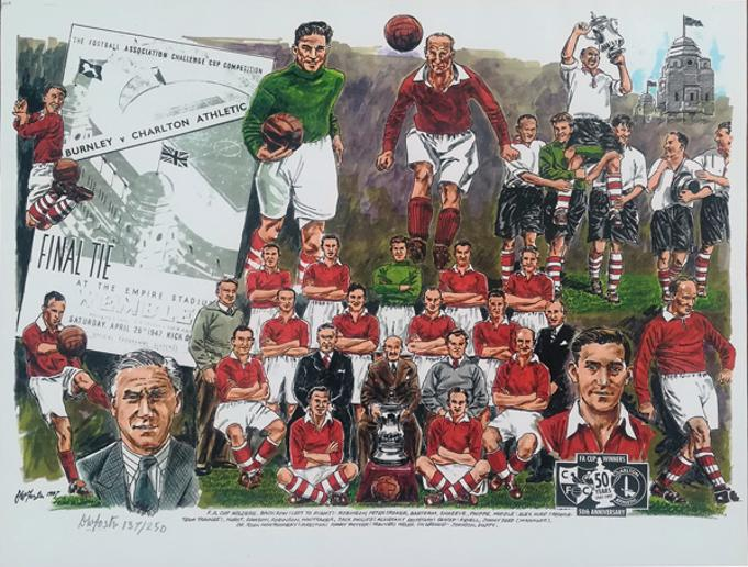 Charlton-Athletic-football-memorabilia-CAFC-1947-fa-cup-final-v-burnley-wembley-stadium-team-squad-signed-foster-artist-limited-edition-print-player-caricatures-don-welch