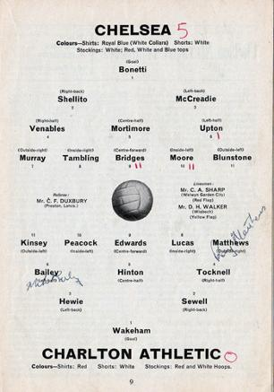 Charlton Athletic football memorabilia autograph signed programme 1962 Addicks Chelsea FC team photo autographed The Valley CAFC Mike Bailey Matthews