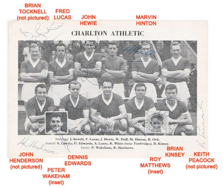 Charlton-Athletic-football-memorabilia-autograph-signed-programme-1962-Addicks-team-photo-autographed-The-Valley-CAFC-Hewie-Hinton-Kinsey-Keith-Peacock Fred Lucas