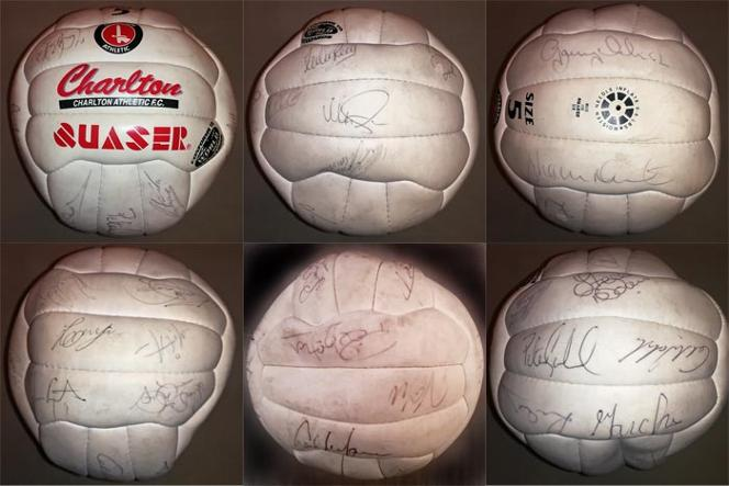 Charlton-Athletic-football-memorabilia-signed-quaser-soccer-ball-addicks-the-valley-valiants-cafc-1990s