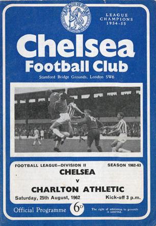 Chelsea-FC-signed-programme-1962-1963-Stamford-Bridge-Charlton-Athletic-football-memorabilia-autograph-Addicks-team-photo-autographed-The-Valley-August