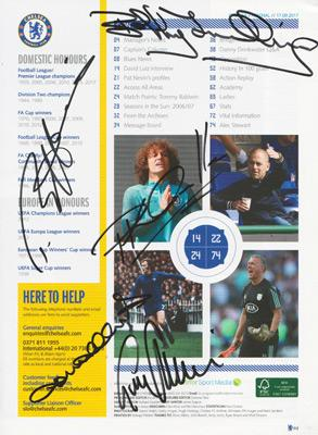 Chelsea-football-memorabilia-signed-match-day-programme-Arsenal-2017-Bobby-Tambling-autograph-Harris-Hollins-Moses-Cahill-Costa-signatures-stamford-bridge