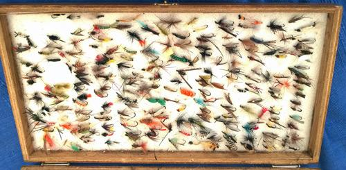 Cheney-fly-fishing-box-hand-tied-flies-angling-memorabilia-dry-wet-vintage-fisherman-angler-fish-sea-trout-salmon-grayling-river-lake-quality-hooks-wooden-dubbing-silk