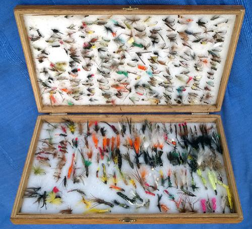 Cheney-fly-fishing-box-hand-tied-flies-angling-memorabilia-dry-wet-wooden-vintage-angler-fisherman-fish-sea-trout-salmon-grayling-river-lake-quality-hooks-dubbing-silk