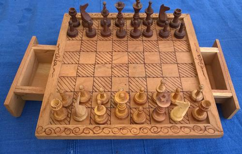 Chess-memorabilia-Board-pieces-table-drawers-cuba-wooden-hand-carved-folk-art-ethnic