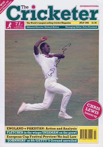 Chris Lewis autograph signed Surrey CCC Cricket memorabilia Notts England test match The Cricketer magazine cover
