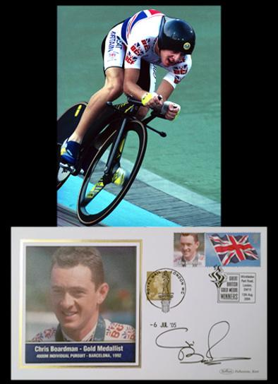 Chris-Boardman-autograph-cycling-memorabilia-signed-1992-Olympics-Games-barcelona-gold-medal-4000m-individual-pursuit-benham-First-day-cover-stamp-superman