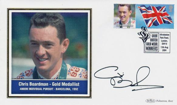 Chris-Boardman-autograph-cycling-memorabilia-signed-1992-barcelona-Olympics-Games-gold-medal-4000m-individual-pursuit-benham-First-day-cover-stamp-superman