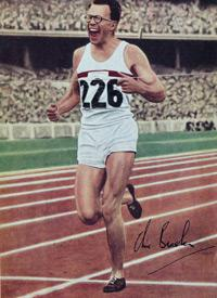 Sir CHRIS BRASHER 1956 Olympic 3000m steeplechase gold medal signed picture.