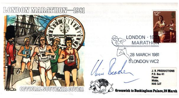Chris-Brasher-autograph-memorabilia-signed-1981-London-Marathon-First-Day-Cover-FDC-Steeplechase-gold-medal-athletics-memorabilia-Bannister-Chataway-Limited-Edition
