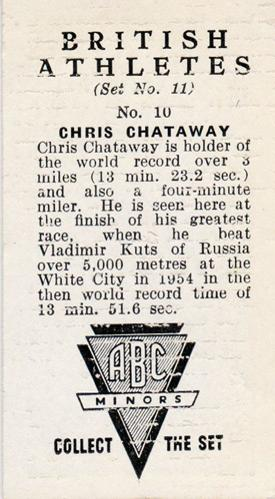 Chris-Chataway-signed-Athletics-memorabilia-four-minute-mile-kuts-white-city-5000m-world-record-ABC-Minors-card-biography