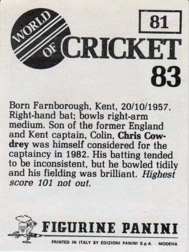 Chris-Cowdrey-autograph-Kent-CCC-cricket-memorabilia-signed-England-Panini-player-card-world-of-cricket-83-spitfires-career-biography