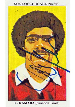 CHRIS KAMARA signed Sun soccer player card Swindon Town Sky TV
