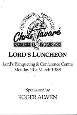 Chris-Tavare-autograph-signed-1988-kent-cricket-memorabilia-lords-luncheon-benefit-menu-david-lloyd-kccc-tav