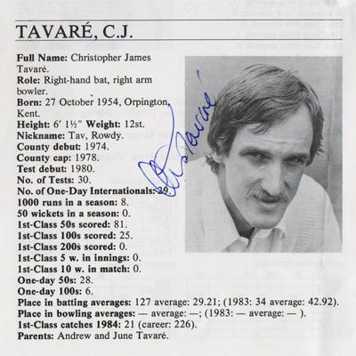 Chris-Tavare-autograph-signed-Kent-cricket-memorabilia-England-test-match-Tav-Cricketers-whos-who-pen-pic-biography-captain-oxford univ blue