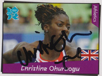 CHCHRISTINE OHURUOGU 2008 Beijing Olympics 400m champion  Signed official 2012 Olympic GB&NI card.
