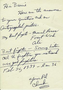 CHUCK WEPNER (The Real Rocky) signed letter.